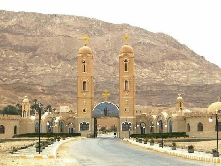 The-monastery-of-Saint-Anthony-in-egypt-with-two-high-steeples-in-yellow-sand-stone